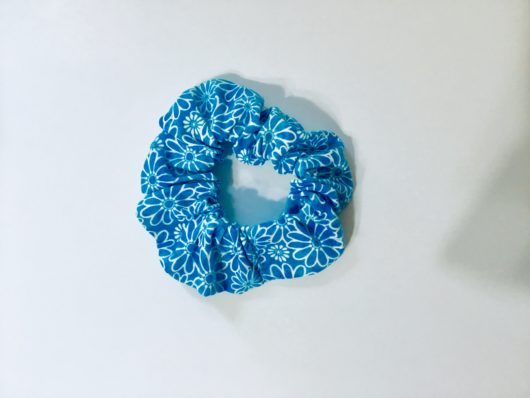 light blue scrunchie with flowers